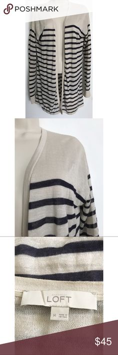 Loft's Striped Lightweight Cardigan Size: Medium. Condition: No defects. Please feel free to ask any questions in the comments! :-) LOFT Sweaters Cardigans