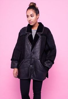 Vintage 80s leather and shearling patchwork coat 2302186