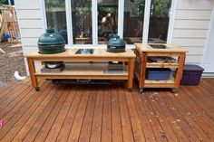 Large green egg table Stainless steel granite table for large big green egg The metal Table Nest So I made this one at about Big Green Egg Large, Big Green Egg Outdoor Kitchen, Green Egg Grill, Green Egg Recipes, Grill Table, Bbq Grill, Grill Cart, Grilling, Kamado Grill