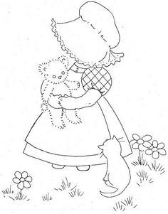 51 ideas embroidery designs for girls sunbonnet sue Hand Embroidery Patterns, Applique Patterns, Vintage Embroidery, Embroidery Applique, Cross Stitch Embroidery, Quilt Patterns, Machine Embroidery, Embroidery Designs, Applique Designs