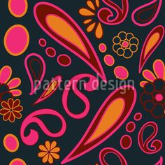 This colorful design consists of variously Paisley ornaments. Vector Pattern, Pattern Design, Stamp Making, Paisley Design, Repeating Patterns, Surface Design, Wall Murals, Dark, Wallpaper