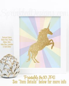 Printable Unicorn Sign, Gold Glitter Unicorn Silhouette, Rainbow Unicorn Nursery Room Wall Art, Birthday Party Printables, Girls Room Decor - SprinkledDesigns.com