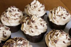 MOCHA Cupcakes with Espresso Buttercream Frosting. If you like Cafe Mochas you'll love these cupcakes! #cupcakerecipes http://thecupcakedailyblog.com/mocha-cupcakes-with-espresso-buttercream-frosting/