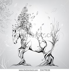 Horse with a mane from flowers