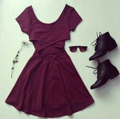 14. Maroon Dress, black light combat boots, and deep red shades