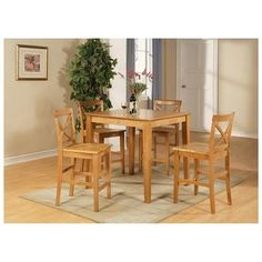Oak Counter Height Table and 4 Counter Chairs 5-piece Dining Set | Jet.com