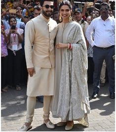 Deepika Padukone and Ranveer Singh Seek Blessings Of Lord Ganesha At Siddhivinayak With Their Families Ahead Of Their Third Reception - HungryBoo Indian Groom Wear, Indian Attire, Indian Wear, Dress Indian Style, Indian Dresses, Wedding Kurta For Men, Couple Wedding Dress, Gents Kurta, Deepika Padukone Style