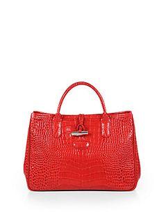 Longchamp Roseau Crocodile-Embossed Leather Top-Handle Bag