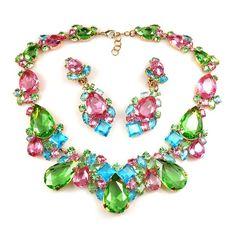 Dejavú Set.  Magnificent multicolor rhinestone necklace jewelry set, used first class Preciosa rhinestones. $79.90