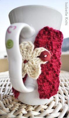 Hand Knit Burgundy Coffee Mug Cozy and Ecru Crochet Flower, Mug Sleeve by girbska