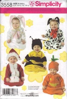 Amazon.com: Simplicity Sewing Pattern 3558 Baby Bunting and Hats Costumes: Home & Kitchen