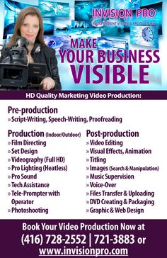 Invision Pro produces different types of marketing video in HD quality. We use only professional video, lighting and audio equipment to shoot, edit and convert your final product to different formats. We help our clients to promote their products, services and events on-line through this marketing video.