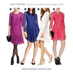 Resort 2016 shows have confirmed lace is going nowhere for awhile! We have selected the best Lace dresses from the sales to see you through to SS16! Wear with trousers to complete a modest look! 1.@esprit 2.@hm 3.@asos 4.@johnlewis KarenMillen