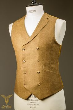 Hand Made Bespoke Yellow Ochre Tweed Double Breasted Waistcoat With Notch Lapel — De Oost Bespoke Tailoring - authentic tailoring and personal attention. Bespoke Suit, Bespoke Tailoring, Black Suit Red Tie, Stylish Waistcoats, Double Breasted Waistcoat, Corporate Attire, Suit Shirts, Mens Boots Fashion, Savile Row