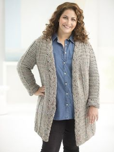 Our Curvy Girl Crochet Cardigan fashionable and flattering! Free pattern available 8 sizes including PLUS! Make it with 8 balls of Lion Brand Heartland in Mount Rainer Tweed and a size J-10 (6 mm) crochet hook.