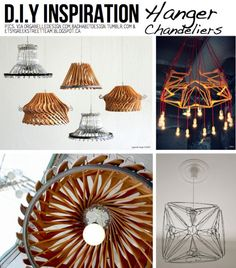 Crafts+DIY Way too complex for me.but awesome idea for the handyman type - Hanger chandeliers - Vi Diy Craft Projects, Diy And Crafts, Projects To Try, My New Room, B & B, Decoration, Diy Home Decor, Creations, Crafty