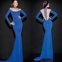 New Arrival 2015 Mermaid Evening Dresses With Pattern Crystal Sexy Sheer Back Dresses Evening Long Sleeves Woman Evening Gowns