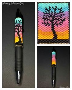This is a Beautiful Beaded Peyote Rainbow Tree Silhouette Pen Wrap. The dimensions for this Pen Wrap Peyote Beading Patterns, Peyote Stitch Patterns, Seed Bead Patterns, Beaded Jewelry Patterns, Loom Beading, Beading Projects, Beading Tutorials, Beading Supplies, Beading Techniques