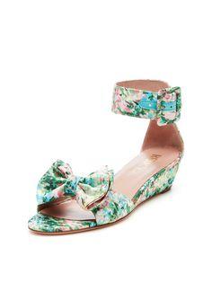 Floral Mini Wedge Sandal