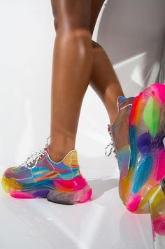 These fun sneakers have a platform to them and will make you the eye catcher of the crowd! Moda Sneakers, Wedge Sneakers, Platform Sneakers, Shoes Sneakers, Shoes Heels, Rainbow Sneakers, Rainbow Shoes, Colorful Sneakers, Colorful Shoes