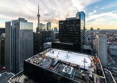 February 3, 2016: Rooftop Hockey, image submitted to the #UrbanToronto flickr pool by Empty Quarter #Toronto #urban #city #downtown #hockey #rink #buildings #architecture