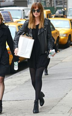 The 50 Shades of Grey star leaves a photo shoot in New York City.