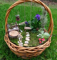 Fairy garden in an old basket