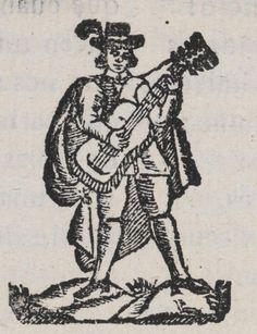 Xilografía en cabecera de un hombre de pie con capa y sombrero con una pluma, tocando la guitarra.