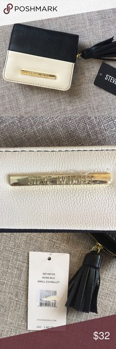 NWT Steve Madden small z/A wallet Bone and black mini wallet with large tassel, zipper pocket, room for cash and cards. Gold logo bar. Steve Madden Bags Wallets