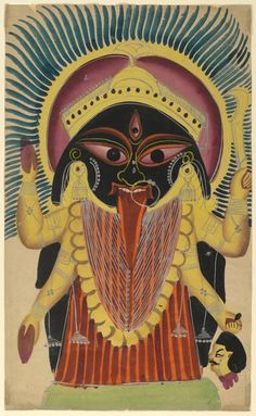 Résultats de recherche d'images pour « Mahakali - The Cosmic Form of the Goddess Kali . Mahakali Folk Painting from the Village of Madhubani (Bihar), India Kali Hindu, Hindu Art, Indian Gods, Indian Art, Kali Ma, Kali Goddess, Divine Mother, Mother Mother, Mother Nature