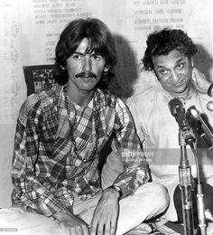USA Photo of George HARRISON and Ravi SHANKAR and BEATLES, of The Beatles, meeting Ravi Shankar