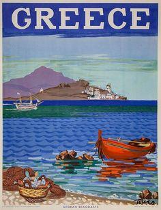 Greece Travel Poster, Aegean Seacoasts, 1948