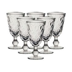 "Set of six glass goblets with pressed teardrop motifs. Made in France.  Product: Set of 6 gobletsConstruction Material: Glass  Color: Clear   Features:Elegant and historic Lyonnais patternSturdy construction for everyday use  Made in France   Dimensions: 6.25"" H x 3"" Diameter eachCleaning and Care: Dishwasher safe"
