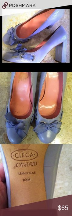 "JOAN & DAVID 8 1/5 Leather Lavender Heels💟💟💟💟 🚨🚨🚨SATURDAY  SALE 😱😱⚡️⚡️4"" Lavender Leather Silk Bow tie Ribbon with Silver Grommets🎀🎀🎀 Classic JOAN & DAVID🍬 Worn 4 times..a tiny spot on ribbon not noticed..Worn like the red ones😻👑🍇🍇🍇🍇🍇🍇🍇 Joan & David Shoes Heels"