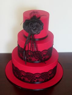 Red - Black Lace Wedding cake. - a photo on Flickriver