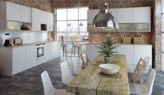 Fashionable Nordic Kitchen in Floating Concept: Industrial Pendant Lights And Vintage Wooden Table Furniture ~ tonlok.com Kitchen Inspiration