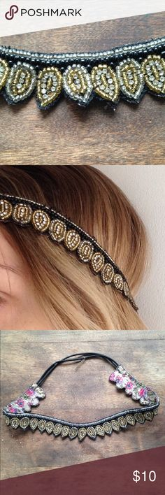 Urban Outfitters Beaded Headband Urban Outfitter beaded headband. Worn once, beautiful black, gold and silver beads l. Perfect for spring/summer! Urban Outfitters Accessories
