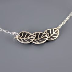 Tiny Leaf Trio Necklace in sterling silver by Lisa Hopkins Design