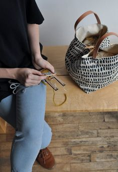 Craft With Conscience: Arounna khounnoraj of Bookhou — Sarah K. Contemporary Embroidery, Honey Colour, Waxed Canvas, Cotton Canvas, Canvas Fabric, Fabric Bags, Color Lines, Dark Brown Leather, Vegetable Tanned Leather