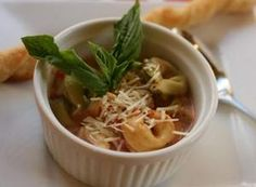 Serve Tomato Basil Tortellini Soup with Garlic Butter Bread for a simple soup supper.