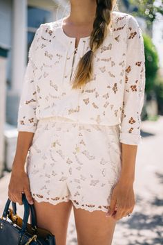 Gal Meets Glam White Embroidered Romper from Express c/o, Chanel flats and Coach bag c/o