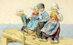 Children On The Dock, Karl Feiertag (1874 – 1944, Austrian)