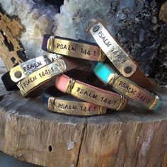 Leather cuff, stamped metal, Psalm 144:1, prayer for a honored soldier, navy.  www.ahavadesign.com