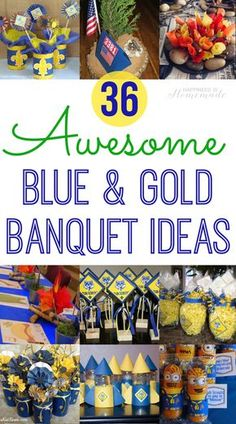 36 Cub Scout Blue and Gold Banquet Party Ideas - Tons of awesome ideas for planning your Cub Scout Blue & Gold Banquet - printables, centerpieces, favors, invitations, cakes and lots more!