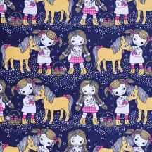 Pony & girls by Leena Renko Print Fabrics, Printing On Fabric, Pony, Kids Outfits, Snoopy, Teddy Bear, Cool Stuff, Wallpaper, Girls