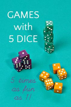 The best family dice games that use 5 dice. These are so much fun and the best indoor activity to beat cabin fever when your kids are complaining of boredom. Easy games to learn and fun to play. game, Dice Games with 5 Dice: Five Times the Fun! Family Card Games, Fun Card Games, Party Games, Best Fun Games, Cool Games, Dice Games, Activity Games, Indoor Activities, Activities For Kids