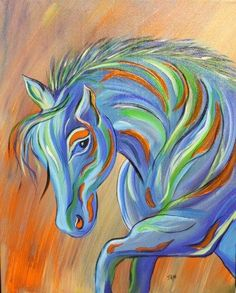 Decoration, The Horse On The Small Canvas Painting Ideas Hanging On The Wall With The Beautiful Picture And Some Wonderful Colors That Look So Amazing And Wonderful With The Blue And Orange Color: Create The Amazing And Beautiful Canvas Painting Ideas For Beginner