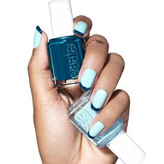 tip top blue by essie - you'll be smitten with this dipped and dotted nail art design. go overboard color on tips