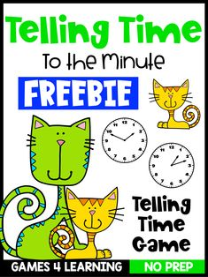 Free Telling Time to the Minute Game - Printable in Color and Black & White Telling Time Games, Telling Time Activities, Fun Classroom Activities, Classroom Freebies, Fun Math, 3rd Grade Classroom, 2nd Grade Math, Math Classroom, Fourth Grade