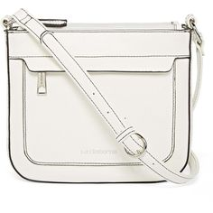 Liz Claiborne Melanie Crossbody Bag ($35) ❤ liked on Polyvore featuring bags, handbags, shoulder bags, liz claiborne, white shoulder bag, liz claiborne purses, white cross body purse and white handbags